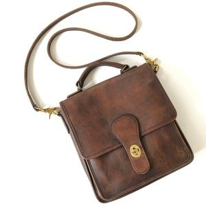 Coach Vintage Leather Station Crossbody Brown